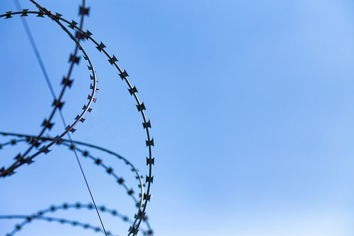 Sky, Wire, Fence, Protection, Metal, Blue, Clear, Sunny