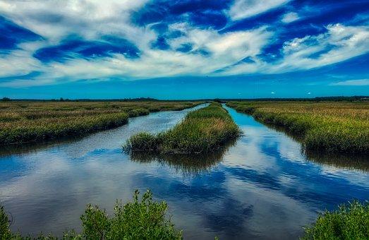South Carolina, America, Marsh, Marshland, Sunset, Dusk
