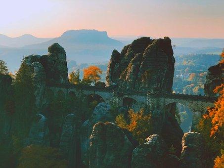 Bastei, Bridge, Landscape, Sunset, Rock, Sand Stone