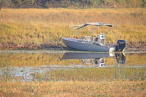 Boat On A River, River, Water, Africa, Boat, Motor
