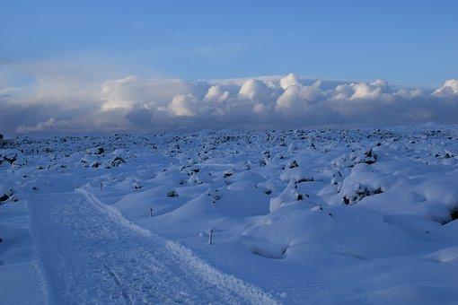 White, Blue, Iceland, Rocks, Snow, Clouds, Path, Empty