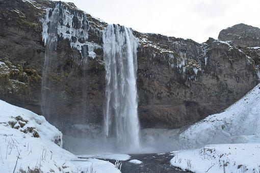 Iceland, Waterfall, Southern Coast, Tall, Winter, South