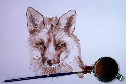 Fox, Coffee, Paint, Animal, Painting, Watercolor