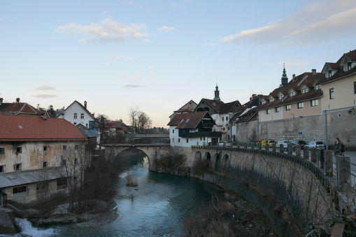 Slovenia, škofja Loka, River, Bridge, City