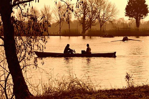 Rowboat, Canoe, Rowing, Oar, River, Water