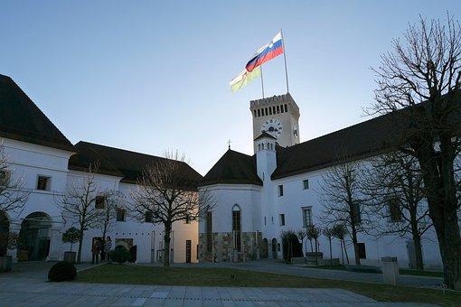Slovenia, Ljubljana, Castle, Flag