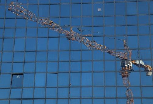 Reflection, Crane, House, Building, Blue, Sky