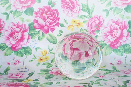 Crystal Ball, Glass Sphere, Flowers, Pink, Reflection