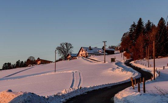 Winter, Snow, Cold, Landscape, Farm, Field, Aurora
