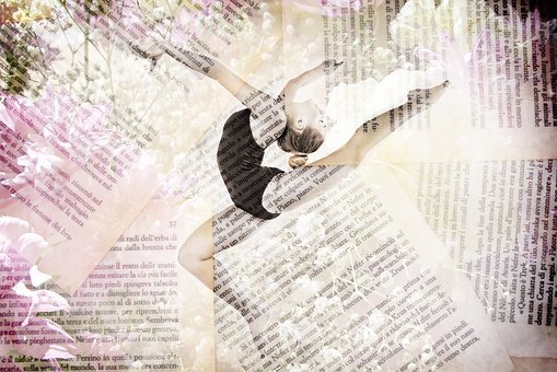 Dancer, Ballet, Flowers, Book, Pages, Words, Happy