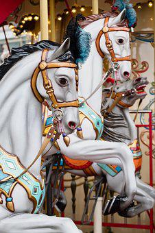 Horses, Carousel, Children, Turn