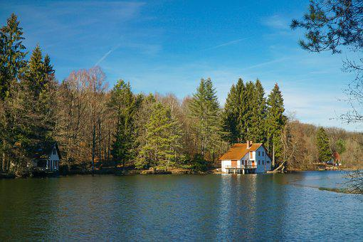 Haus Am See, Romantic, Landscape, House, Water, Nature