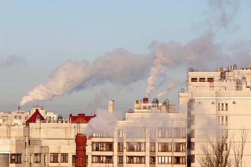 Smoke, Trumpet, Frost, City, Industry, Pollution, Plant