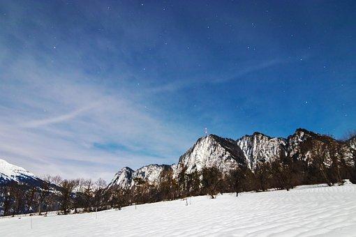 Mountain, Night, Star, Sky, Landscape, Mountains