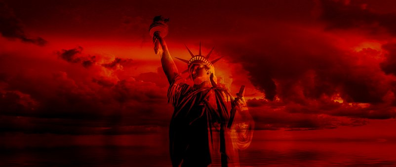 Freedom Stature, Threatening, Red, Sunset, Sky, Clouds