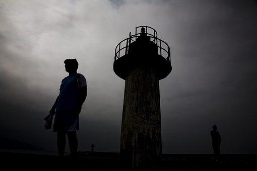Lighthouse, Silhouette, Marine, Sky, Tower, Beach