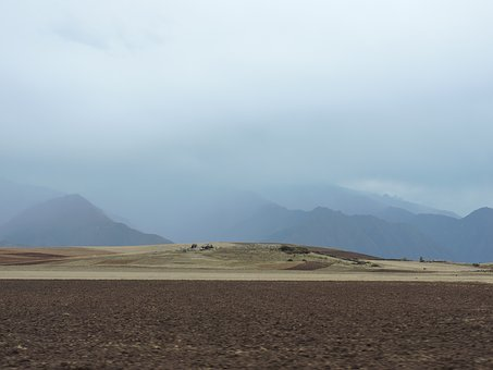 Landscape, Valley, Sacred, Field, Clouds, Mountains