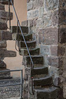 Stairs, Wall, Stone, Gradually, Middle Ages