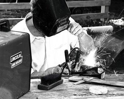 Welder, Welding, Black And White, Worker, Fixing