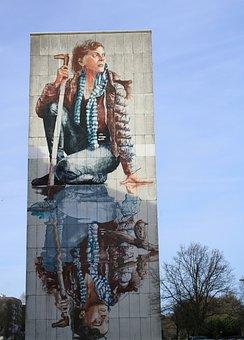 Facade, Graffiti, Walls, Woman, Colorful, Flowers