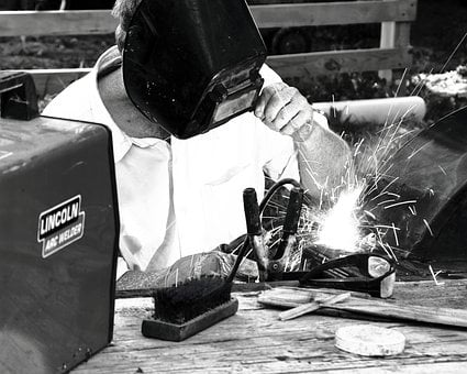 Welder, Welding, Black And White, Worker, Fixing