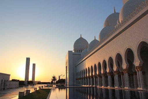 Mosque, Reflection, Water, Abu Dabhi, Uae