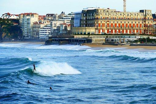 Biarritz, Sea, Ocean, Architecture, France, Beach, Sky
