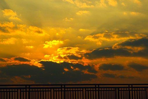 Sunset, Sky, Background, Sunrise, Nature, Blue, Yellow