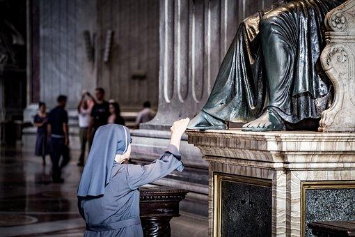 Nun, Saint Peter's, Basilica, Rome, Vatican, Catholic