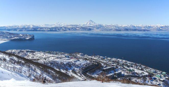 Kamchatka, Bay, Winter, Sea, Beach, Landscape, Rocks