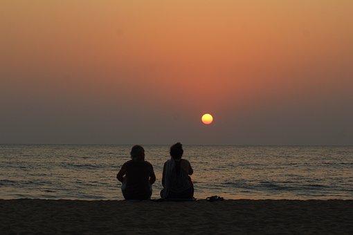 Silhouette, Old Age, Sunset, Evening, Beach, Goa, India