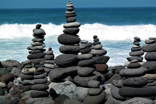 Stone Tower, Beach, Water, Ocean, Balance, Meditation