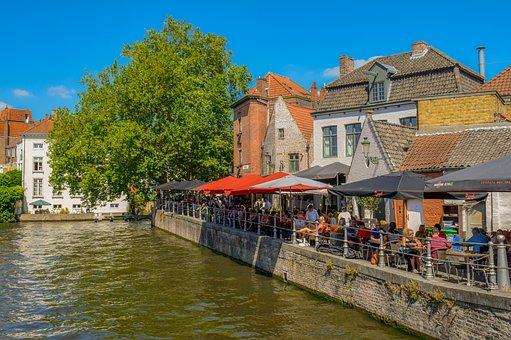 Belgium, Brugge, Canal, Promenade, River, Architecture