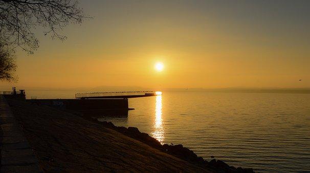 Sunrise, Lake, Bridge, Water, Landscape, Reflection