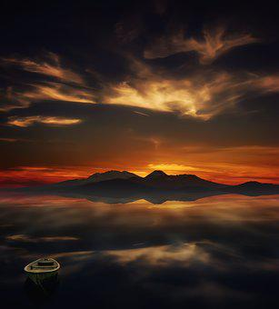 Sunset, Reflection, Sea, Calm, Tranquility