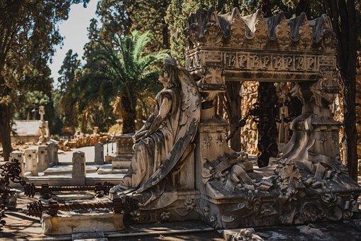 Spain, Barcelona, Montjuïc, Cemetery, Crypt, Angel