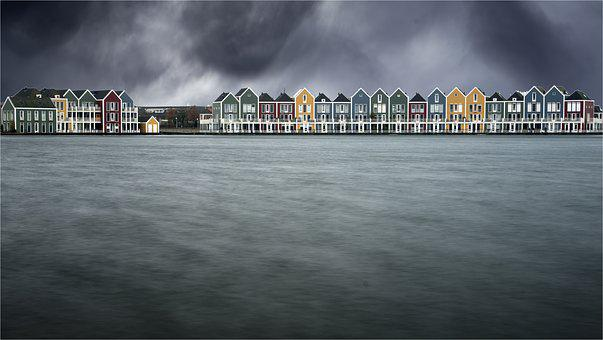 Storm, Cottages Wooden, Netherlands, Colors