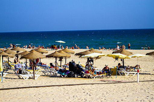 Beach, Monte Gordo, Summer, Portugal, Coast, Fisherman