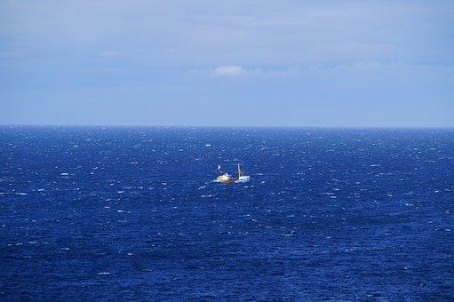Sea, Ocean, Water, Horizon, Ship, Fisherman