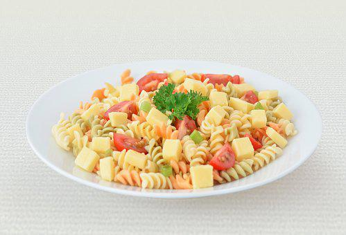 Pasta, Cheese, Tomato, Red, Salad, Fresh, Lunch