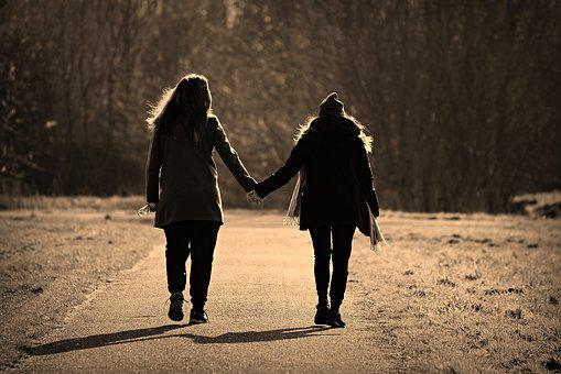 Woman, Girl, Friends, Pair, Walking, Hand In Hand