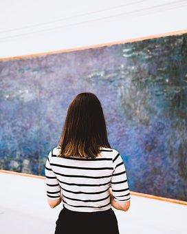 Art, Museum, Girl, Admiring, Gallery, Exhibition, Paris
