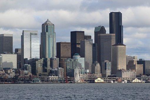 City, Seattle, Harbor, Overcast, Ferris Wheel