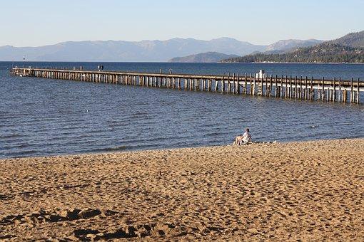Pier, Lake, Sand, Bird, Water, Landscape, Jetty, Nature