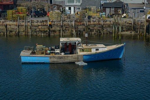 Rockport, Ma, Boat, Lobster Boat, New England, Harbor