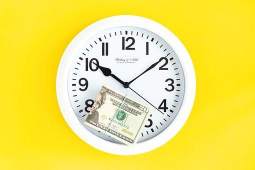 Wall Clock, White Clock, Time, Money, Dollars