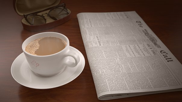 Coffee Cup, Newspaper, Table, Glasses, Morning, Coffee