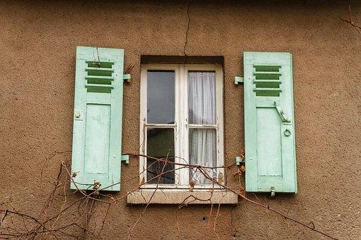Window, Old, Shutter, Green, Brown, White, Curtain