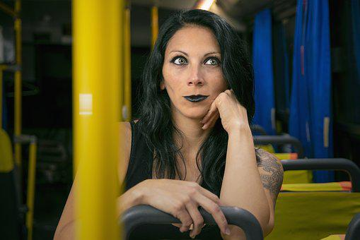 Portrait, Women, Model, Person, Bus, Black, Thinking