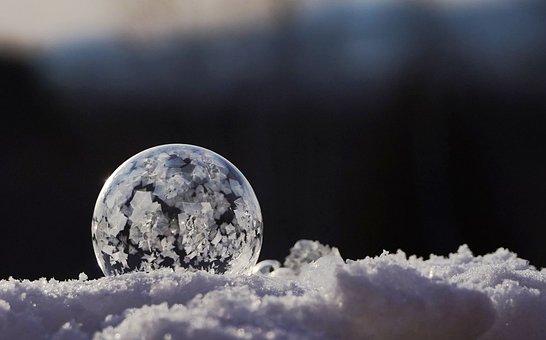 Winter, Ice, Frozen, Snow, Bubble